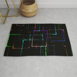 Abstract pattern of colored neon patterned green squares of different sizes Rug