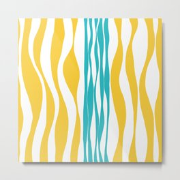 Ebb and Flow - Turquoise & Yellow Metal Print