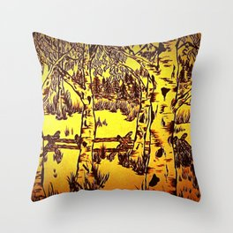 Golden Mountain Sunset - Throw Pillow