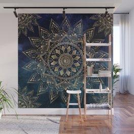 Elegant Gold Mandala Blue Galaxy Design Wall Mural