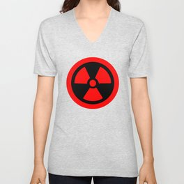 Red Radioactive Symbol Unisex V-Neck