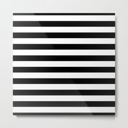 Black and White Jumbo Beach House Stripes Metal Print