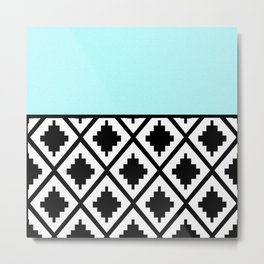 Geometrical aqua blue black white ethno pattern Metal Print