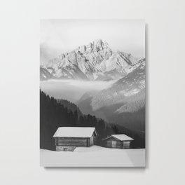 Cottage between Mountains Metal Print