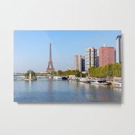 Front de Seine and Eiffel tower - Paris, France Metal Print