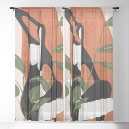 Abstract Female Figure 20 Sheer Curtain