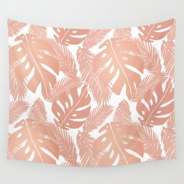 Rose Gold Tropical Leaf Pattern Wall Tapestry