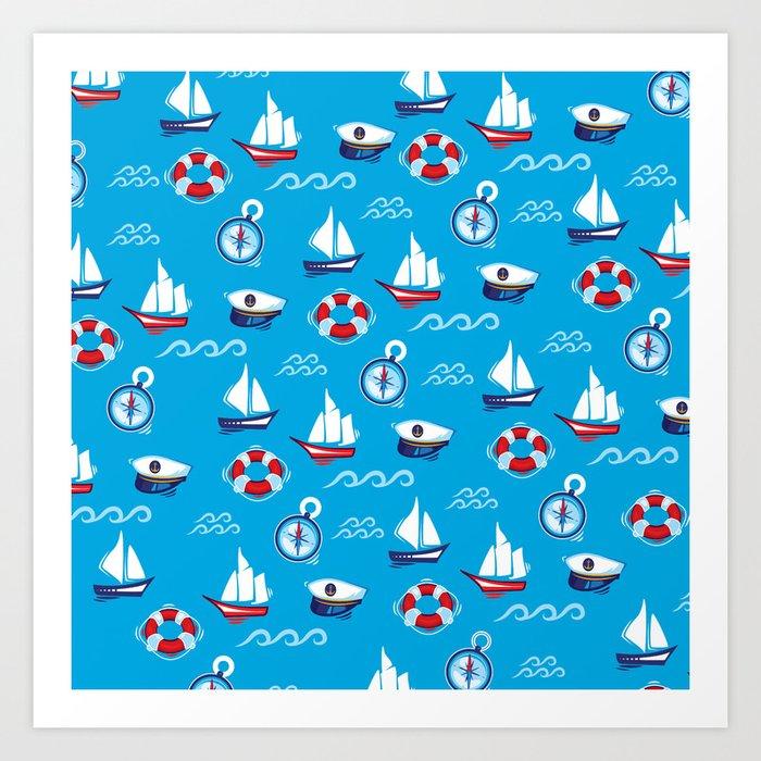 Sea Retro Pattern Art Print