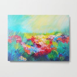 ETHERIAL DAYS - Stunning Floral Landscape Nature Wildflower Field Colorful Bright Floral Painting Metal Print