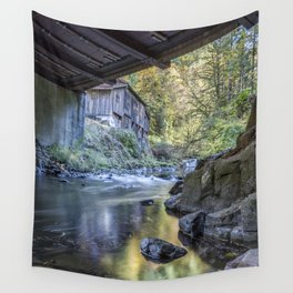 The View of Cedar Creek Grist Mill from Under The Bridge Wall Tapestry