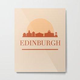 EDINBURGH SCOTLAND CITY SKYLINE EARTH TONES Metal Print
