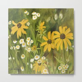 Watercolor Black Eyed Susan Wildflower Botanical Garden Flower Metal Print