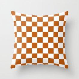 Checker Texture  (Bronze & White) Throw Pillow