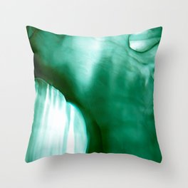 Emerald Veil - emerald green, soft wash, watercolor style, alcohol ink, fluid art Throw Pillow