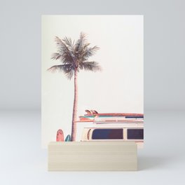 Retro Van Camper, Palm tree and Surfboards Mini Art Print