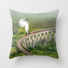 Hogwart Express steam engine in the scottish highlands Throw Pillow