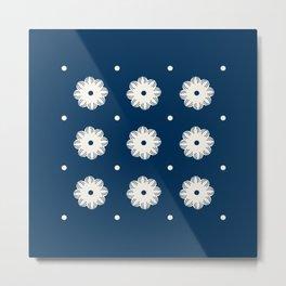 Beige flowers and dots aligned over dark blue Metal Print