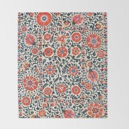Shakhrisyabz Suzani  Uzbekistan Antique Floral Embroidery Print Throw Blanket
