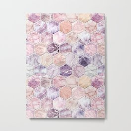 Rose Quartz and Amethyst Stone and Marble Hexagon Tiles Metal Print