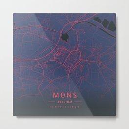 Mons, Belgium - Neon Metal Print