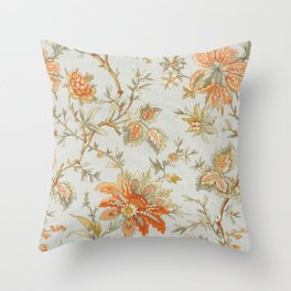 Blue Orange Flower Leaf Throw Pillow