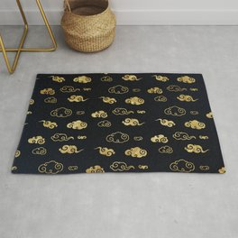Black and Gold Asian Style Cloud Pattern Rug
