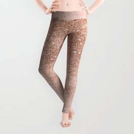 Girly blush coral faux rose gold glitter marble Leggings