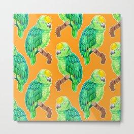 Sleepy Parrot Watercolor Pattern on Orange Metal Print