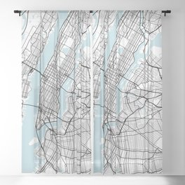 New York City Map of the United States - Circle Sheer Curtain