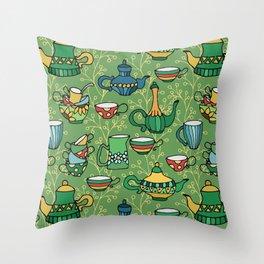 Tea green pattern Throw Pillow