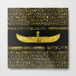 Golden Egyptian God Ornament on black leather Metal Print