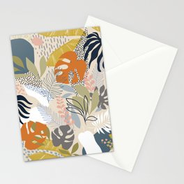 Tropical Foliage Pattern 1 - Retro Boho Stationery Cards