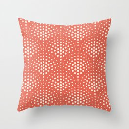 Pantone Living Coral with Cream Polka Dot Scallop Pattern Throw Pillow