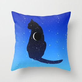 Cosmic Cat on a Starry Sky Background Throw Pillow