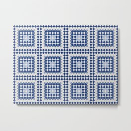 SAPPHIRE crisp pattern in shades of blue with white Metal Print