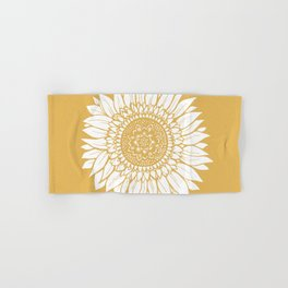 Yellow Sunflower Drawing Hand & Bath Towel