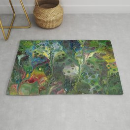 Moody Green Abstract Acrylic Painting Rug