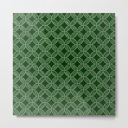 Forest Green Overlapping Circle Drawing Metal Print
