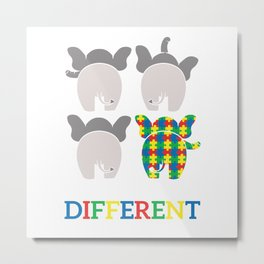 Autism Elephant Awareness Gift For Autistic Child Metal Print