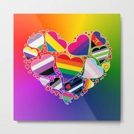 LGBTQA+ Community Pride Heart Metal Print