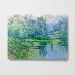 Václav Radimský (1867-1946) At The Confluence Colorful Bright Impressionist Oil Landscape Painting Metal Print