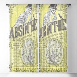 Vintage 1871 Absinthe Gold Liquor Skeleton Elixir Aperitif Cocktail Alcohol Advertisement Poster Art Sheer Curtain