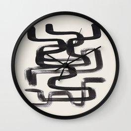 Mid Century Modern Minimalist Abstract Art Brush Strokes Black & White Ink Art Pipe Maze Wall Clock