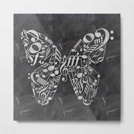 Music butterfly on chalkboard Metal Print