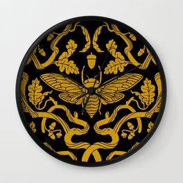 Cicada Oak Damask Wall Clock