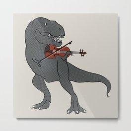 T-Rex Violin Metal Print