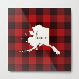 Alaska is Home - Buffalo Check Plaid Metal Print