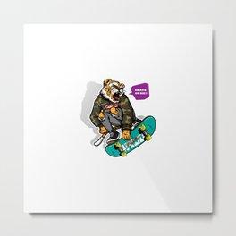 Hand Drawn Style Angry Tiger Riding Skateboard Metal Print