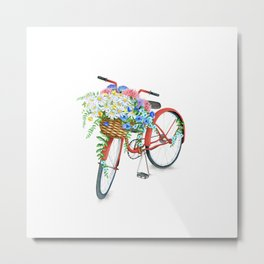 Vintage Red Bicycle with Flowers Metal Print