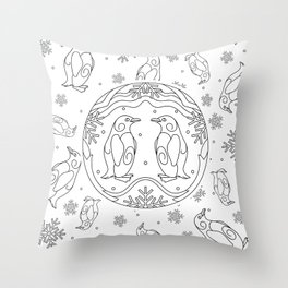 Winter background with penguins Throw Pillow